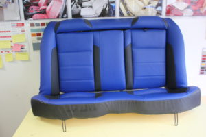 BLUE LEATHER CAR SEAT UPHOLSTERY